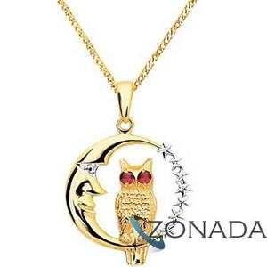 New-Owl-Moon-Ruby-9ct-9k-Solid-Yellow-Gold-Pendant-62185-CR
