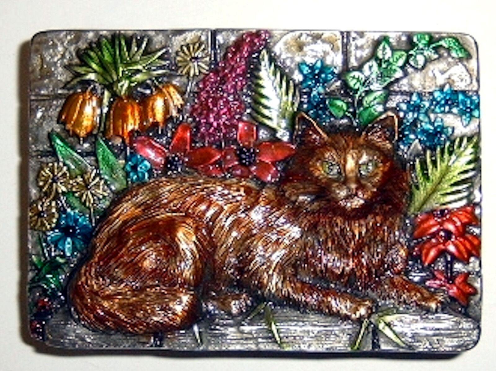 Katze Gürtelschnalle braun Blumen Kater Tiger Luchs Perserkatzen Buckle cat