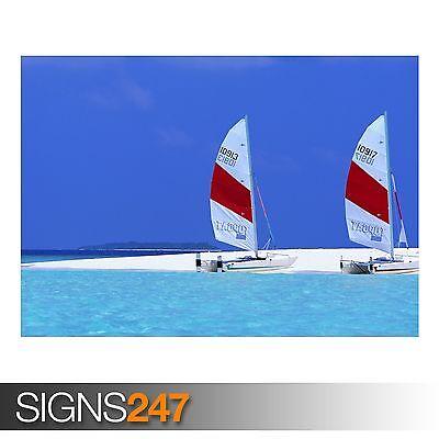 Beach In Blu (3320) Spiaggia Poster-foto Poster Arte Stampa A0 A1 A2 A3 A4-