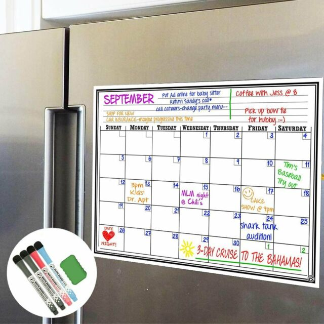 Fridge Calendar Magnetic Dry Erase Plan Board For Kitchen Refrigerator 17x11