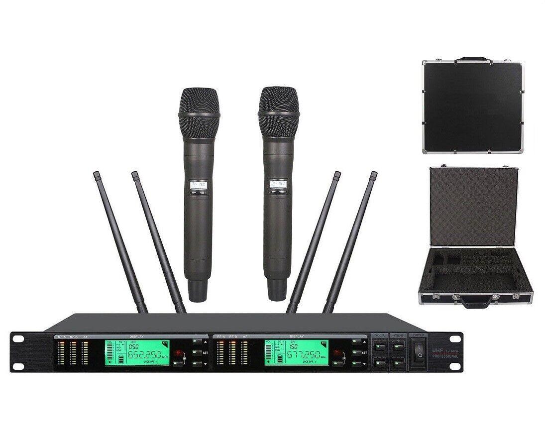 Karaoke Wireless System Long Range True Diversity Dual Handheld Microphones Case