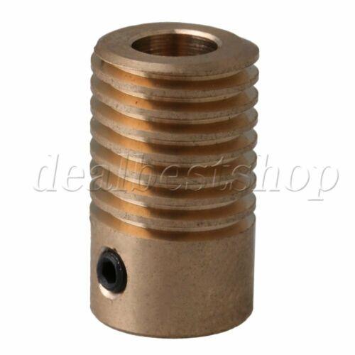 Yellow 0.5 Modulus 6mm Aperture Dia Brass Worm Wheel Shaft 20x11.7mm