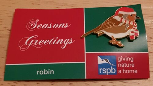 "SAME DAY DISPATCH !! Brand New /""RSPB XMAS ROBIN/"" Pin Badge FREE POST !!"