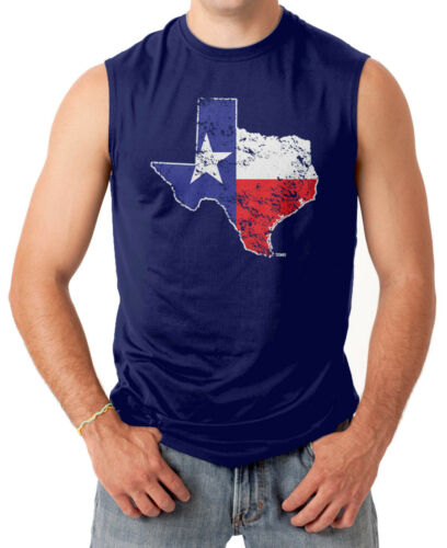 State Pride Men/'s SLEEVELESS T-shirt Distressed Texas Map
