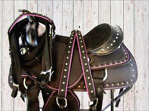 PRO-WESTERN-15-16-PURPLE-BLACK-SHOW-PLEASURE-HORSE-BARREL-RACING-SADDLE-TACK-SET