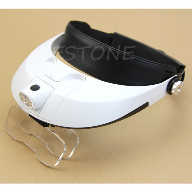 Headset Head LED Lamp Light Jeweler Magnifier Magnifying Glass Loupe Headband