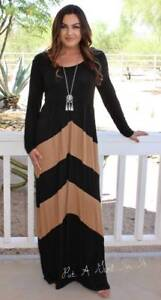 PLUS SIZE BLACK MOCHA CHEVRON BOHEMIAN LONG SLV TALL MAXI DRESS 1X ...