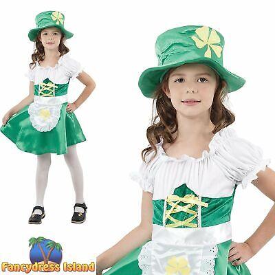Girls Fancy Dress Costume Age 3-10 KIDS ST PATRICKS DAY LEPRECHAUN GIRL
