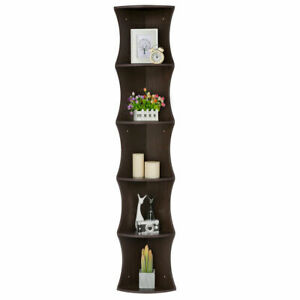 Free-Standing-Strong-5-Tier-Corner-Shelf-Shelves-Bookshelf-Home-Bookcase-Walnut