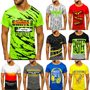 T-Shirt-Tee-Kurzarm-Rundhals-Fitness-Print-Men-Herren-Mix-BOLF-3C3-Aufdruck-WOW