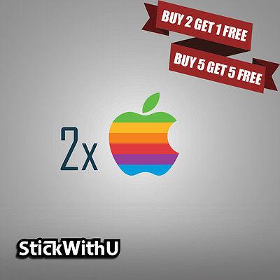 e9e4cfba9ba7 2x MacBook Decal Retro Apple Logo Sticker Air Pro Retina Vinyl Rainbow  2xLG01 | eBay