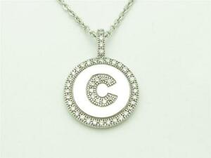 PLATINUM-STERLING-SILVER-DIAMOND-SET-MICRO-PAVE-INITIAL-034-C-034-COIN-PENDANT-GIFT
