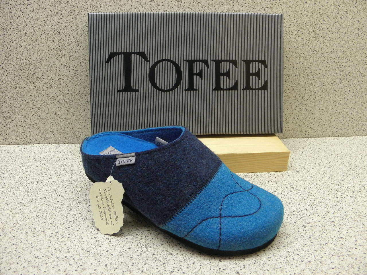Tofee®  SALE   bisher 29,95 €  Wollfilz - Pantolette  blau (Z276)