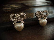 Vintage Butler & Wilson Crystal Bow and Pearl Heart Earrings