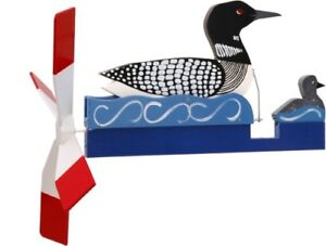 Loon-with-Baby-Loon-Wooden-Folk-Art-Wind-Hand-Painted-Whirligig-29