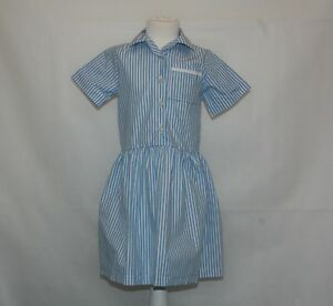 Girls-Blue-and-White-Striped-Short-Sleeve-School-Dress