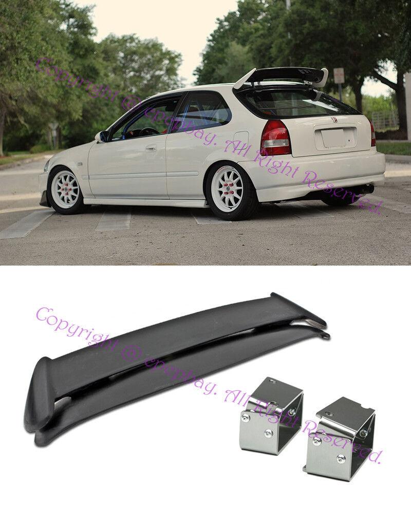 For 96-00 Civic EK9 3Dr Type R Style Spoiler W// Adjustable Black Tilt Brackets