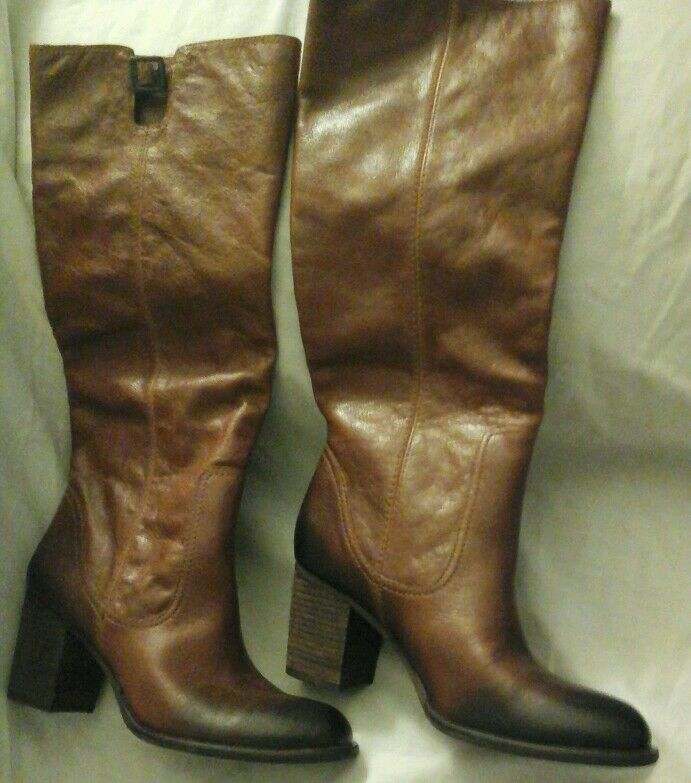 Vince Camuto Leather Tall Knee High Boots Brown Sz 7b