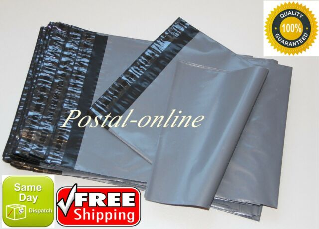 100 x Grey Plastic Mailing Bags 305 x 410 mm 12 x 16 postal poly mail postage