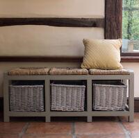 Hallway Storage Bench Hall Wicker Baskets Shoe Country Unit 3 Drawer Wooden Seat
