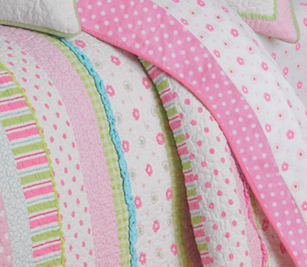 Gracie Girls Pink Pastels Polka Dots blueeee Micro Ruffles Flowers Quilt Set Twin