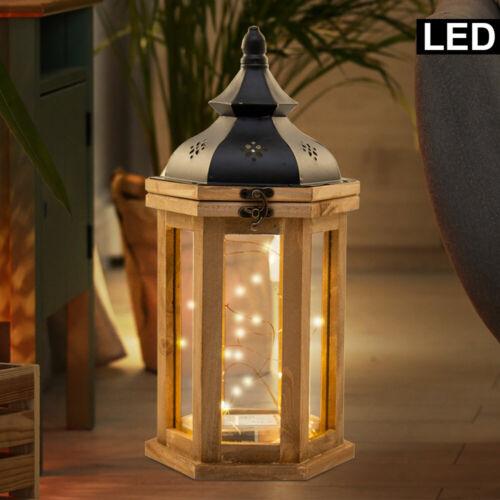 LED Landhaus Stil Holz Laterne natur Deko Tisch Hänge Decken Lampe Glas Leuchte