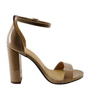 Delicious Shiner Women's Single Banded Open Toe Heel (6 Dark Beige)