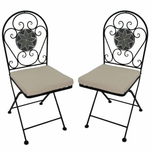 Eisenstuhl für Balkon 2er Set Gartenstuhl Mosaik Klappstuhl in schwarz grau