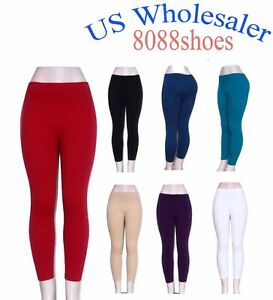 10-PC-Wholesale-Lots-of-Women-039-s-One-Size-Cotton-Legging-Brush-Inside-NEW-W-Tag