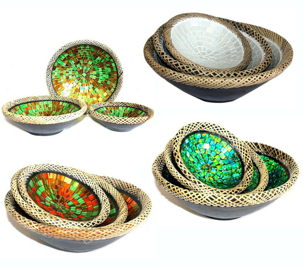 G113 - Sets of Three Hand Made Rattan Glass Mosaic Bowl Lombok Terracotta