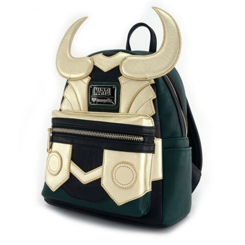 Loungefly x Marvel Avengers Faux Leather Loki Cosplay Mini Backpack Bag Gold