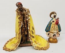 Two Vintage Saints- Saint Lazarus Statue &  Virgin Of Regla