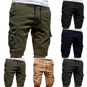 Men-Casual-Jogger-Shorts-Sports-Cargo-Pants-Military-Combat-Workout-Gym-Trousers