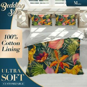 Tropical-Flowers-Floral-Patterns-Green-Quilt-Cover-Single-Double-Queen-King-Size
