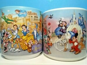 DISNEY-PARADE-25th-ANIVERSARY-DISNEY-WORLD-2-MUGS-CUP-1996-REMEMBER-THE-MAGIC