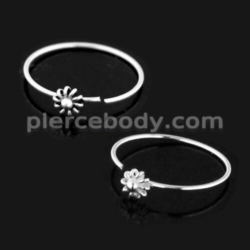 Open Hoop BCR 925 Sterling Silver Flower Nose,Ear Tragus Ring Sold Per Piece
