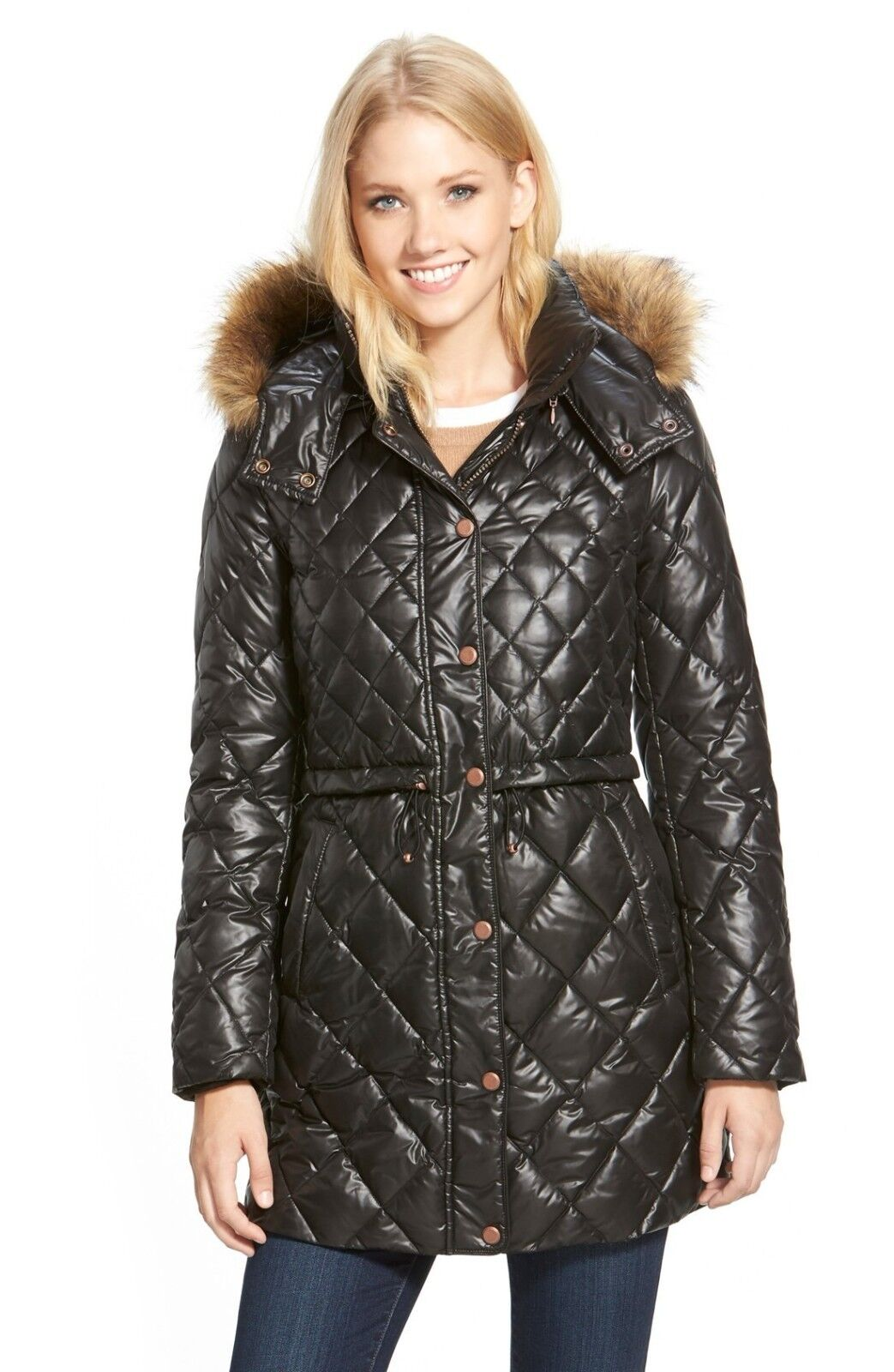 NWT MARC NEW YORK Kava Faux Fur Trim Quilted Down Drawstring Parka Coat XS