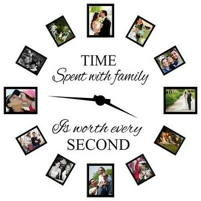 New TIME SPENT WITH FAMILY Wall Quote Clock Decal Vinyl Art Lettering Home Decor