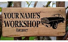 Personalised Car Garage Workshop Shed Door Sign Plaque Wood Plate Man Cave Bar