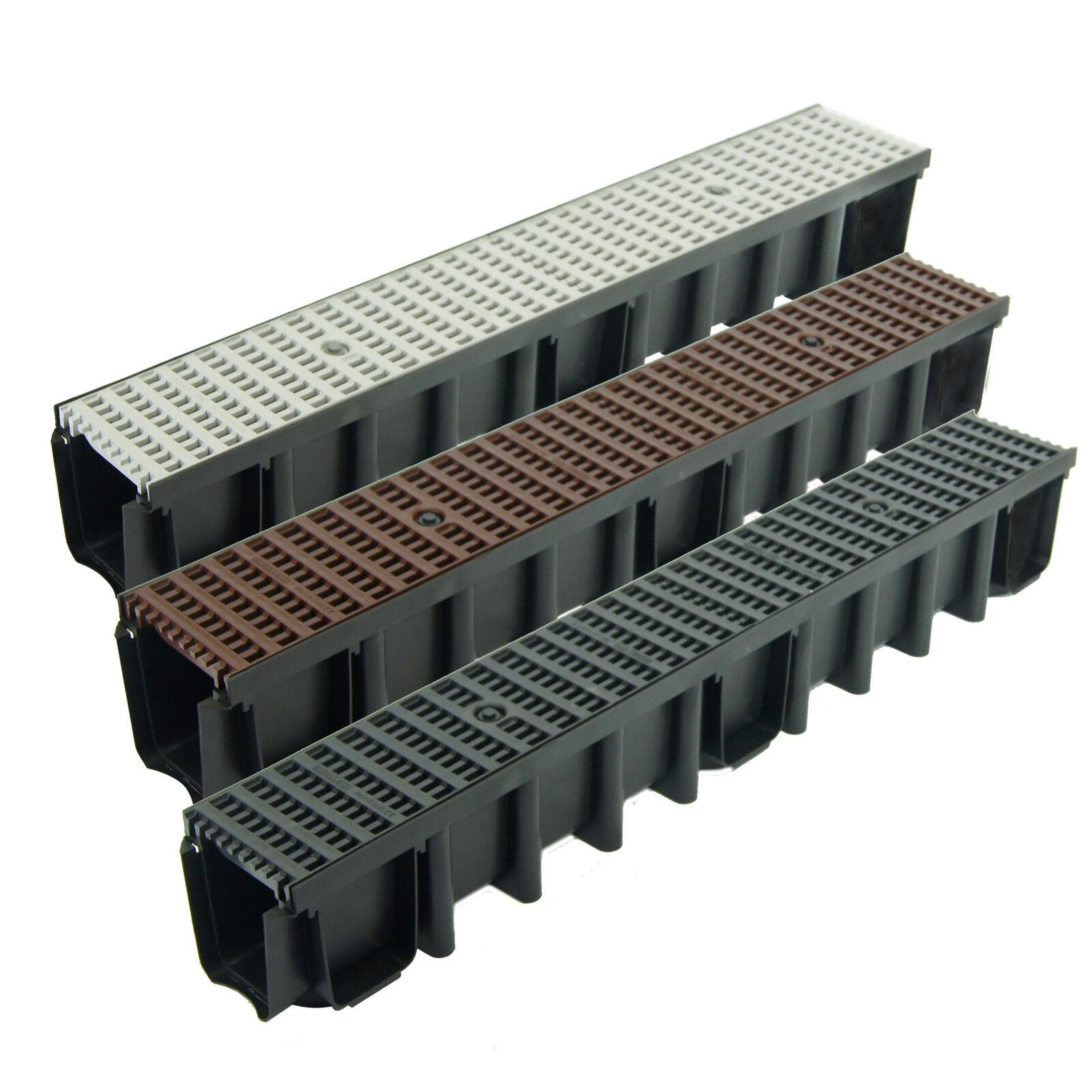 1 - 15m Entwässerungsrinne 148mm Einlaufkasten Stegrost Kunststoff inkl. Zubehör