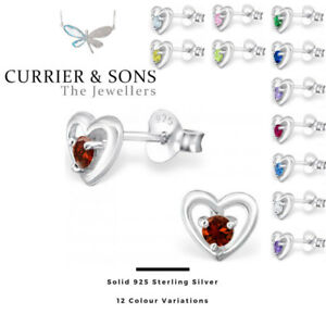 925-Sterling-Silver-Heart-with-Birthstone-Cubic-Zirconia-Stud-Earrings-Pairs
