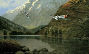 WILD-HORSES-by-Gerald-Coulson-aviation-art-signed-by-039-Bud-039-Anderson