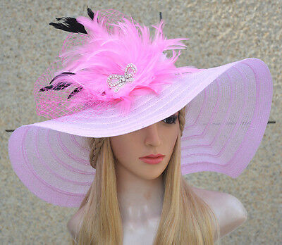 Women Dress Church Wedding Kentucky Derby Wide Brim Feather Veil Sun Hat A265
