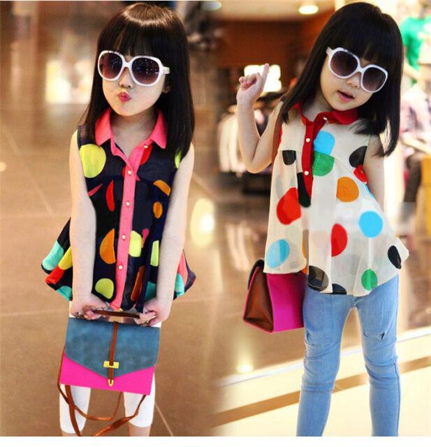 Baby Girls Kids Princess Sleeveless Chiffon Casual Tops T-Shirt Blouse Hot Gift