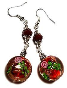 Long-Silver-Red-Earrings-Drop-Dangle-Hook-Glass-Bead-Boho-Artisan-Tibetan-Style