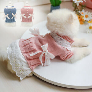 Small Dog Sweaters Female Girl Red Winter Warm Dog Princess Dress Clothes Jumper
