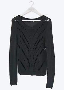 Knit 8 Topsize Sandro uk Womens Out Sweater Cut Black 1Small Front Open JF1TlKc53u