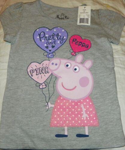 "/""NEW/"" Peppa Pig ~ Pretty /& Pink SHIRT ~ Toddler Girl/'s Sz 4T 4 Gray GLITTER NWT"