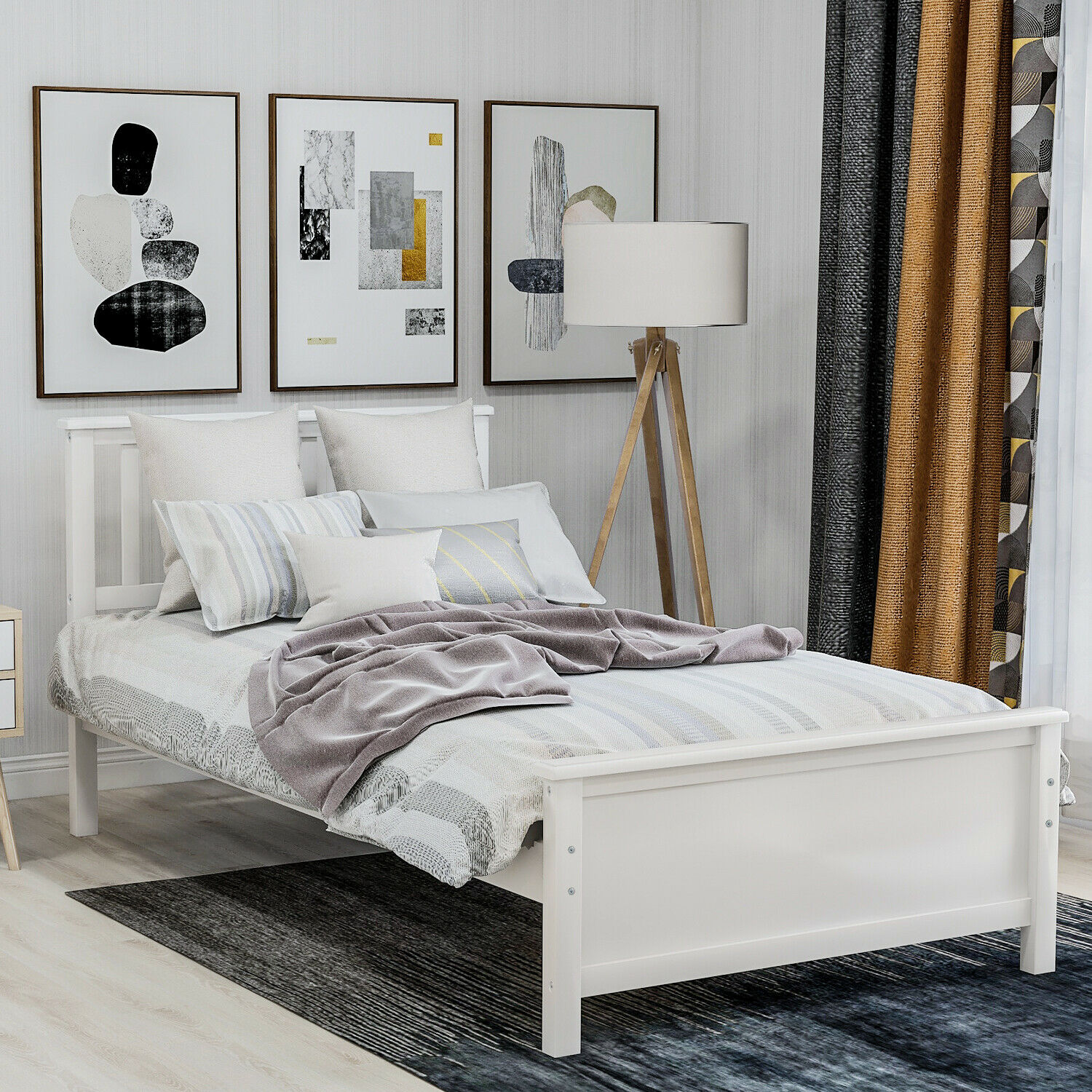 Twin Solid Wood Platform Bed Frame With Headboard Footboard Wood Slat Support For Sale Online