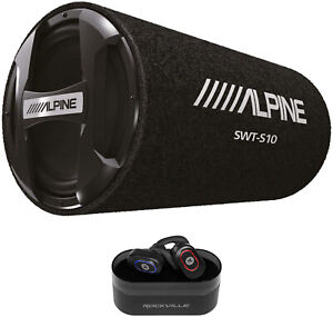 ALPINE-SWT-S10-1200w-10-034-Car-Audio-Subwoofer-in-Bass-Tube-Wireless-EarBuds